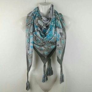 JOHNNY WAS Silk Scarf Boho Tassels